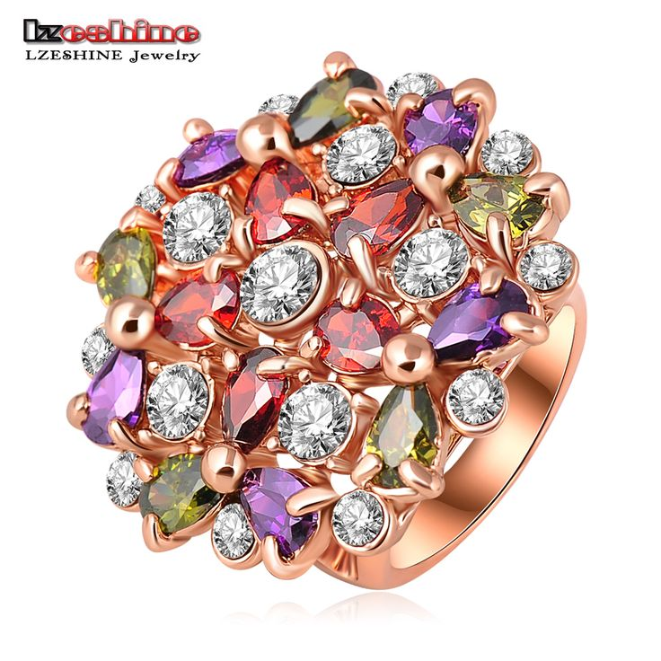 LZESHINE Rose Gold Plated Big Round Flower Engagement Ring with Multicolor Austrian Crystal Fine Jewelry anillos Ri-HQ0212