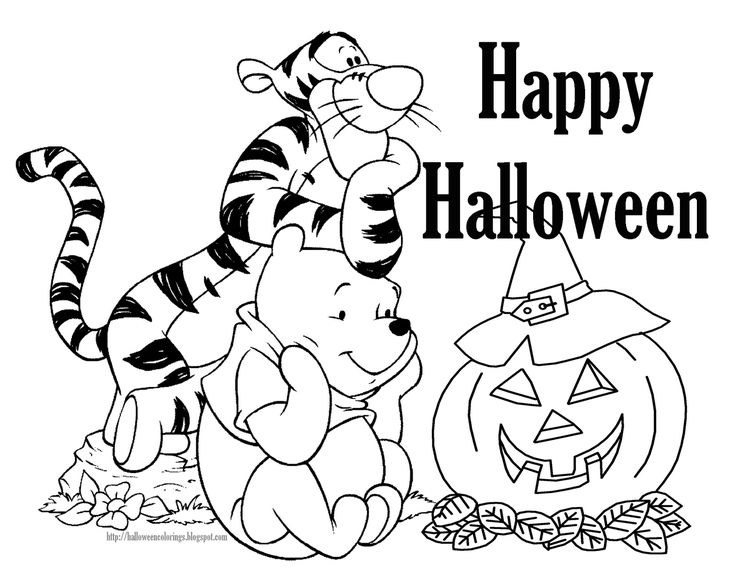 heres tigger and winnie the pooh in a great halloween coloring page for you to print