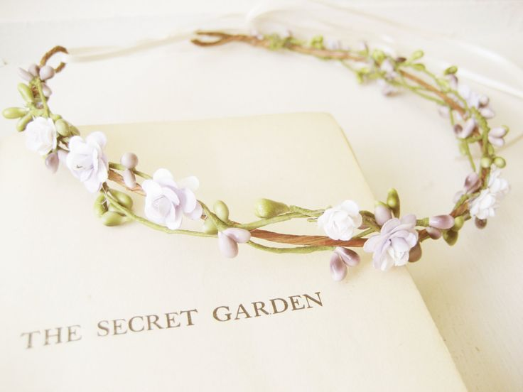 Pastel flower crown, Bridal headpiece, Woodland wedding hair accessories, Floral headband, Wreath, Green purple - SPRITE by NoonOnTheMoon on Etsy