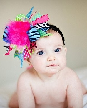 Hot Pink, Turquoise, Lime, Zebra Over The Top Bow on Matching Headband