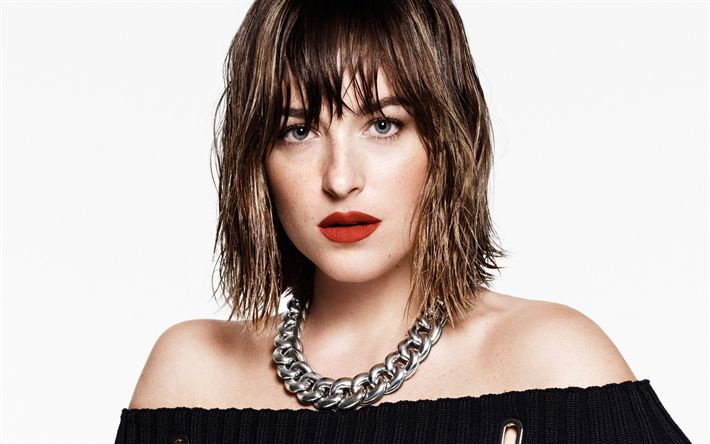 Descargar fondos de pantalla Dakota Johnson, la actriz Estadounidense, vertical, vestido negro, noche, maquillaje, mujer bella