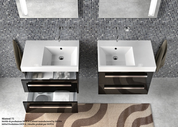 Zero Domino With Asymmetric Left Or Right Sink, For Wall Hung Or Semi Inset  Installation. 1 Or 3 Tapholes. Front Chrome Brass Towelrail Is Available.