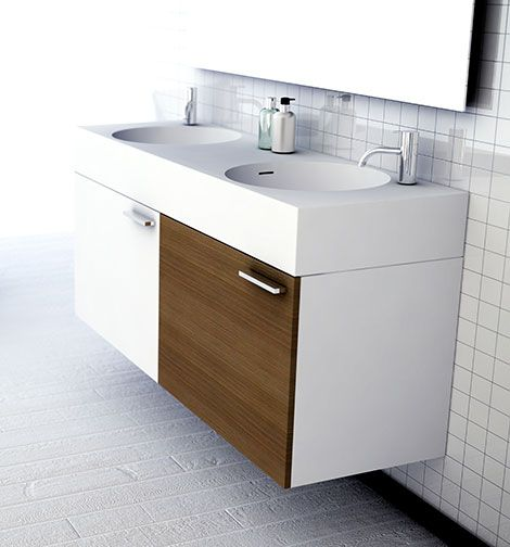Square rectified tiles - http://img.homedit.com/2010/10/omvivo-neo-double-sink-vanity.jpg