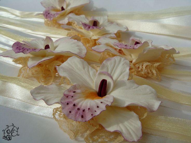 Купить Орхидеи цвета айвори - браслеты, свадебные украшения, свадебные браслеты, браслеты с орхидеями, орхидея