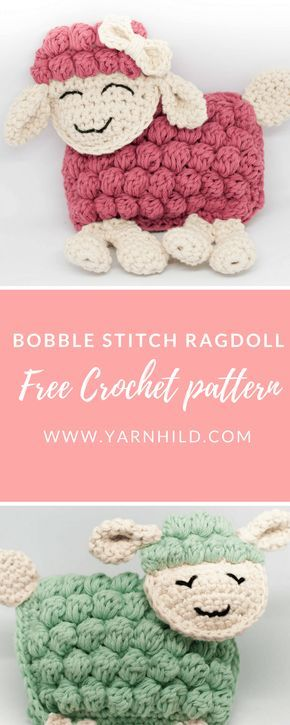 These sweet ragdoll sheeps are crocheted with the bobble stitch. The pattern is free. The perfekt gift for a baby!