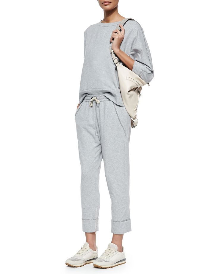 Brunello Cucinelli Shimmer- minimalist grey tracksuit: pants and top.