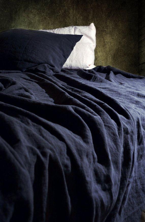 Midnight Blue Luxurious Linen Top Sheet Stonewashed Natural Linen