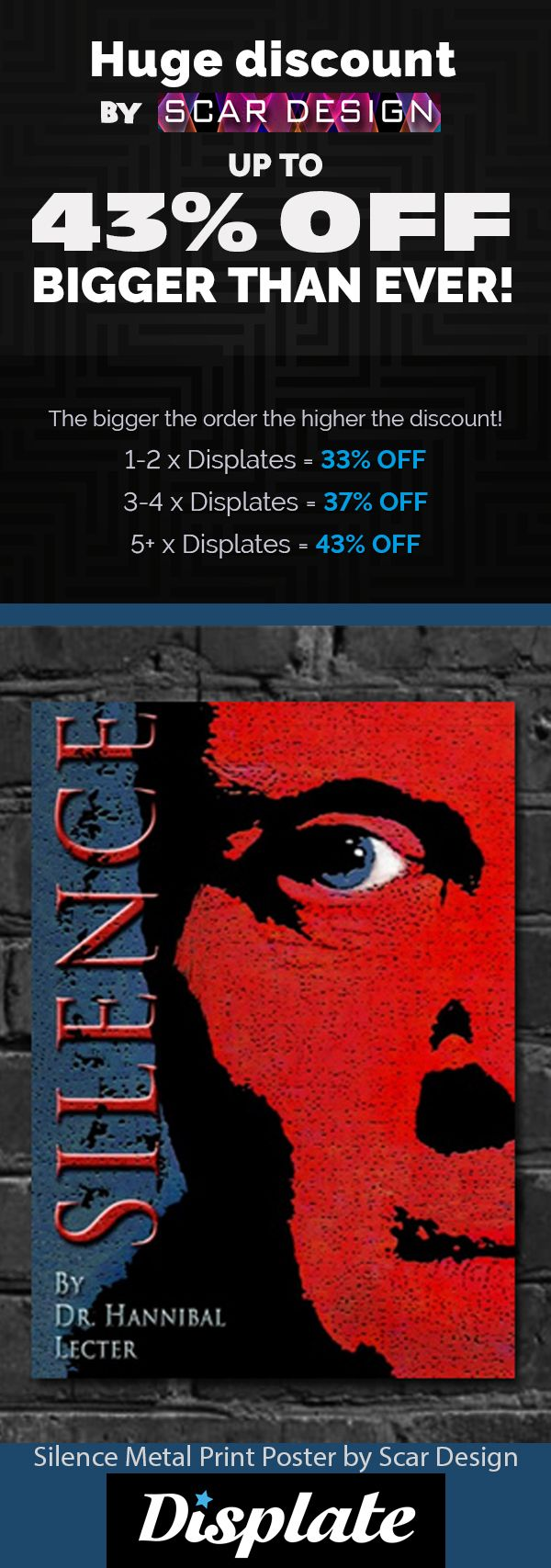 43% OFF METAL PRINT POSTERS! Movie & Gaming Posters on Metal Prints. The Silence of the Lambs Poster by Scar Design #poster #displate #homedecor #style #family #thesilenceofthelambs #movieposter #onlineshopping #shopping #sales #discount #save #movies #film #cinema #bookposter  #art #thanksgivinggifts #christmasgifts #buymovieposters