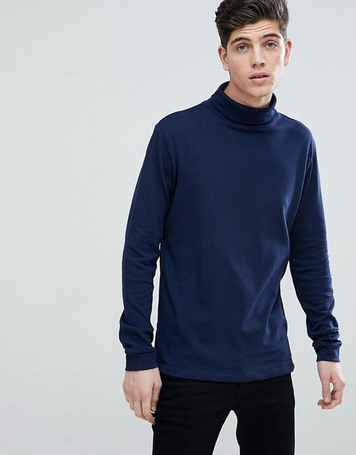 Mango Man Roll Neck Sweater In Navy