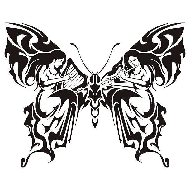 jewellery online Tribal Butterfly With Women Playing Music Tattoo Design
