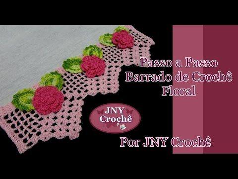 Passo a Passo Barrado de Crochê Floral por JNY Crochê - YouTube