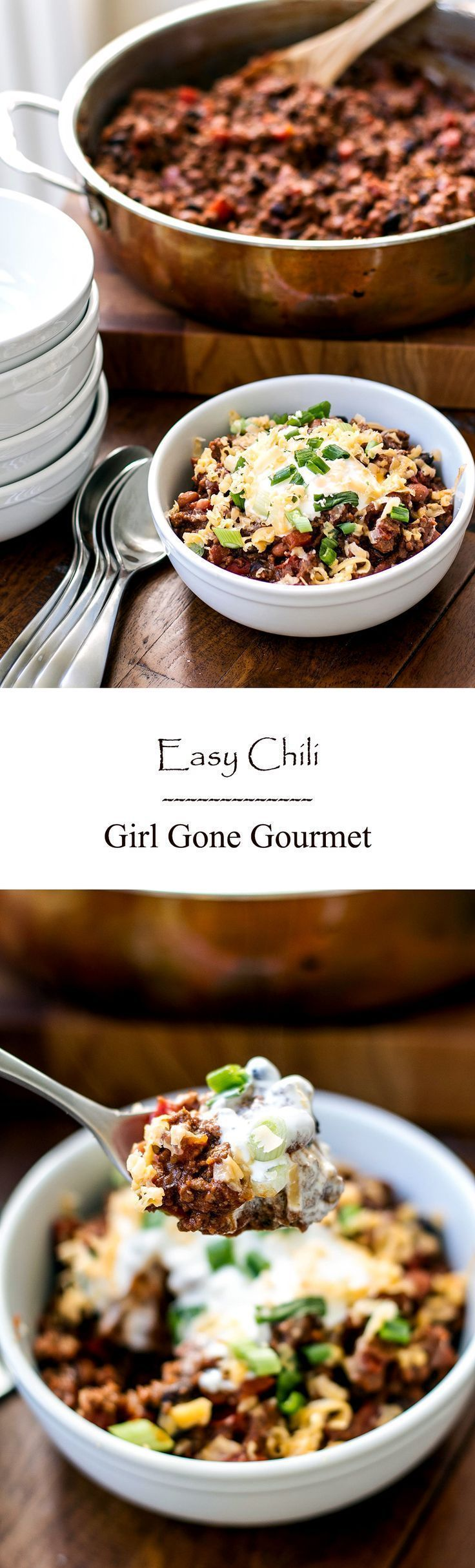Easy chili with ground beef, black beans, pinto beans and lots of flavor! girlgonegourmet.com