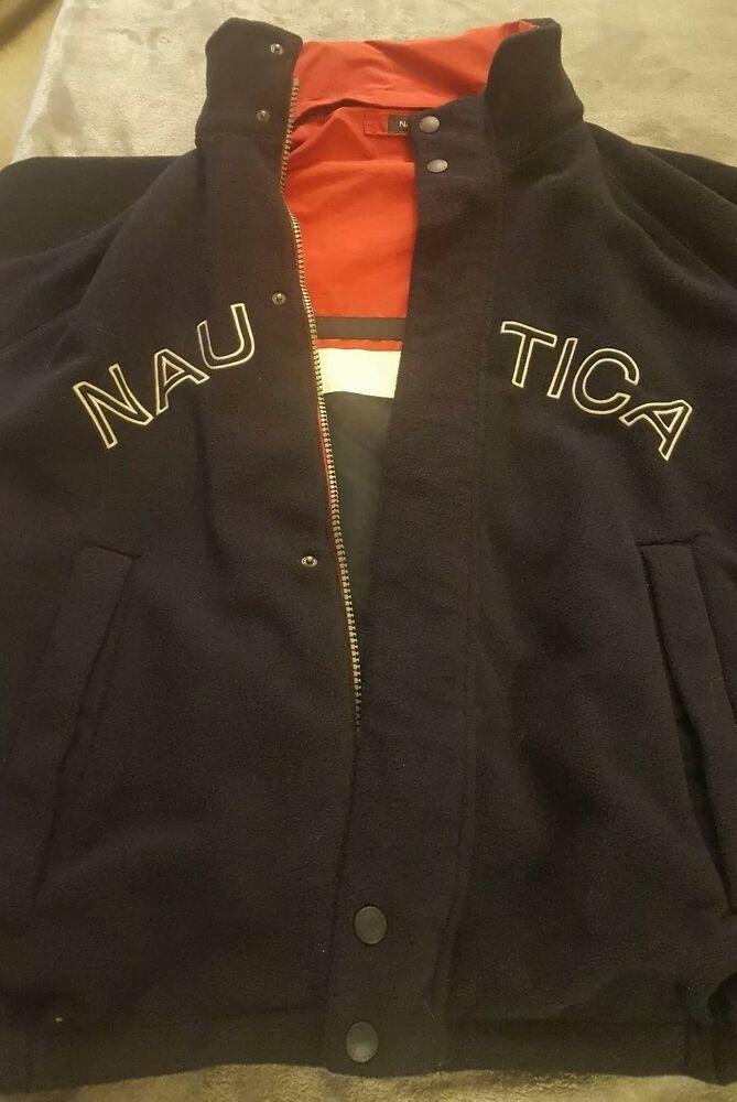 Vintage Nautica Ns 83 Spell Out Jacket Reversible Windbreaker Fleece With Hood Nautica Windbreaker Mens Down Jacket Vintage Jacket Cargo Jacket