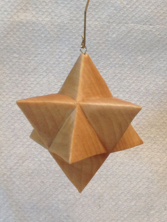 Hand Carved 8 Point Moravian Star Tree Ornament Wood