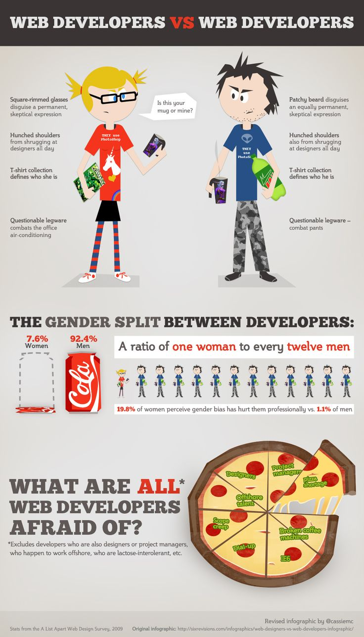 Web Designers vs. Web Developers Infographic Remix