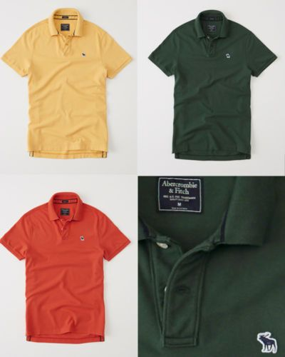 NWT-Abercrombie-amp-Fitch-Men-039-s-Classic-Fit-Icon-Polo-Green-Orange-Yellow-Color