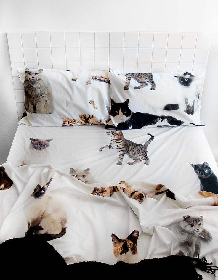Lifesize cat QUEEN BED sheet set
