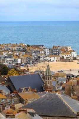 Seaside Village of St. Ives, Cornwall, UK. Roof top view of the harbour