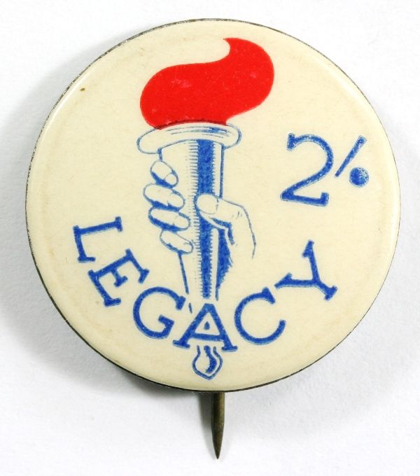2/- Legacy Badge - Hand Holding Torch