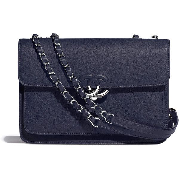 navy blue Chanel ❤ liked on Polyvore featuring bags, handbags, blue hand bag, lamb leather handbags, navy blue bag, navy handbags and flap bag