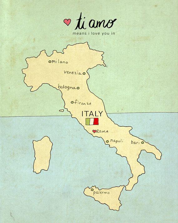 I Love You in Italy // Typographic Print, Italian Map, Giclee, Modern Baby Nursery Decor, Illustration, European Travel Theme, Digital via Etsy