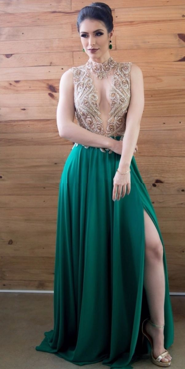 vestido de festa verde para formanda