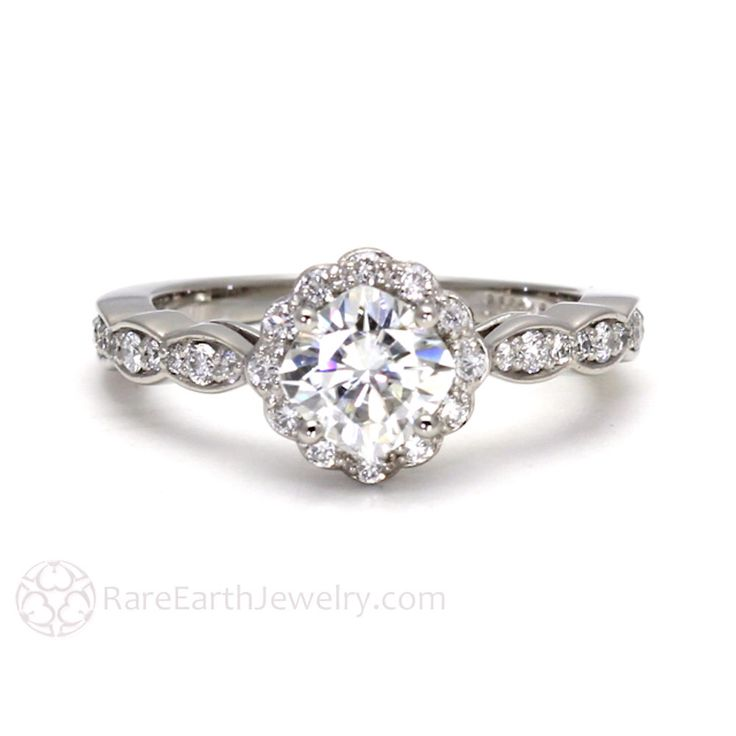 Palladium Moissanite Diamond Halo Engagement Ring Cushion Cut Conflict Free Forever Brilliant Moissanite Ring by RareEarth on Etsy https://www.etsy.com/listing/117543681/palladium-moissanite-diamond-halo