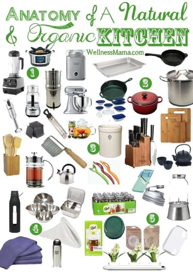 My essential natural kitchen items, cooking tools and health appliances for my natural and organic kitchen. Also great ideas for a wedding registry list.