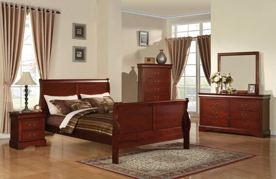 "5 pc Louis Philippe III Collection cherry finish wood queen bedroom set with curved ends sleigh bed headboard and panel footboard. This set includes the Queen bed set, one nightstand, Dresser, Mirror and Chest. Queen sleigh bed features a curved ends sleigh bed headboard and panel footboard. Nightstand measures 27"" x 16"" x 27"" H, Dresser measures 60"" x 18"" x 36"" H. Mirror measures 36"" x 41"" H. , Chest measures 38"" x 18"" x 53"" H. Some asse..."