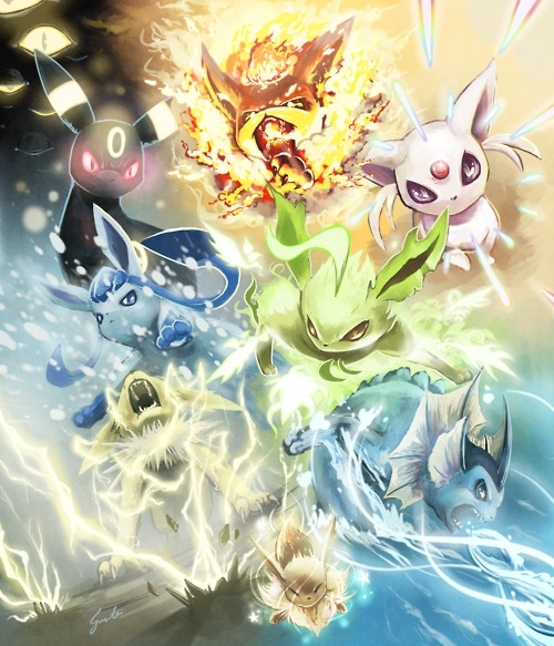 Umbreon using Phychic  Flareon using Flamethrower  Espeon using The Stare  Glaceon in/using Blizzard  Leafeon using The Stare  Jolteon using Thunder  Vaporeon using Hydro Pump