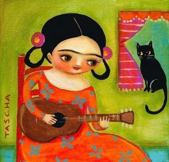 Frida Kahlo plays guitar to kitty cat PRINT from painting by tascha. $15.00, via Etsy.