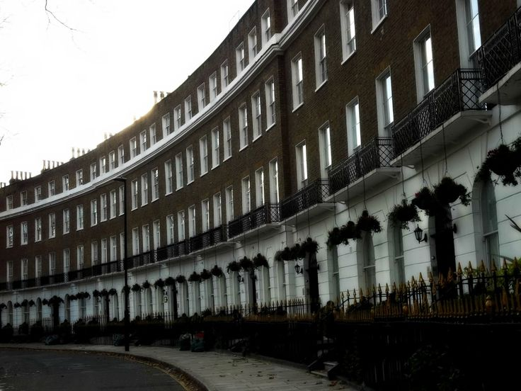 A typical crescent of London property. Beautiful architecture and buildings in historic Bloomsbury.