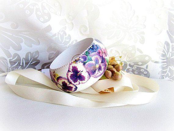 Wood floral bangle wooden violets flowers bracelet by GattyGatty, $20.00