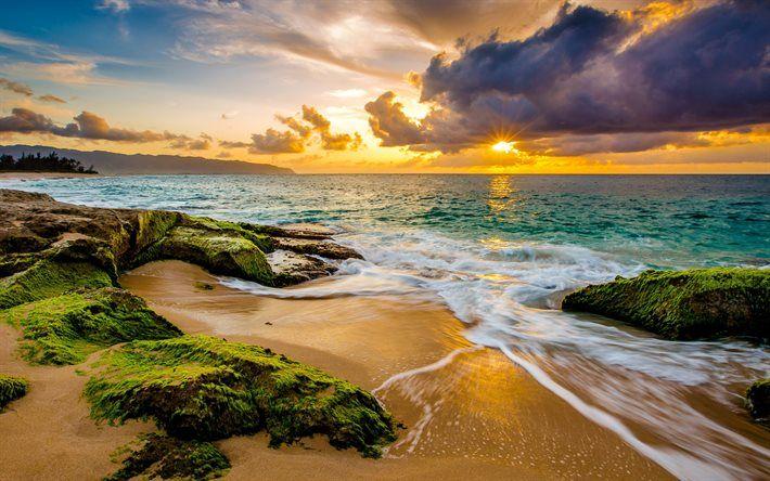 Coast, ocean, beach, sunset, Hawaii, clouds, tropics