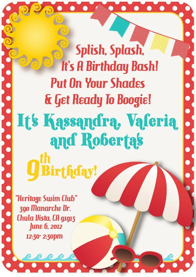 7 best Birthdays images – Free Printable Pool Party Invitations