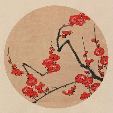 伊藤若冲『緋梅(すおうばい)』-「花卉図天井画」