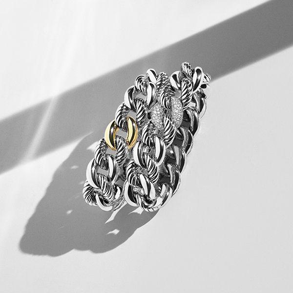 belmont bracelets in sterling silver with 18k gold or diamonds