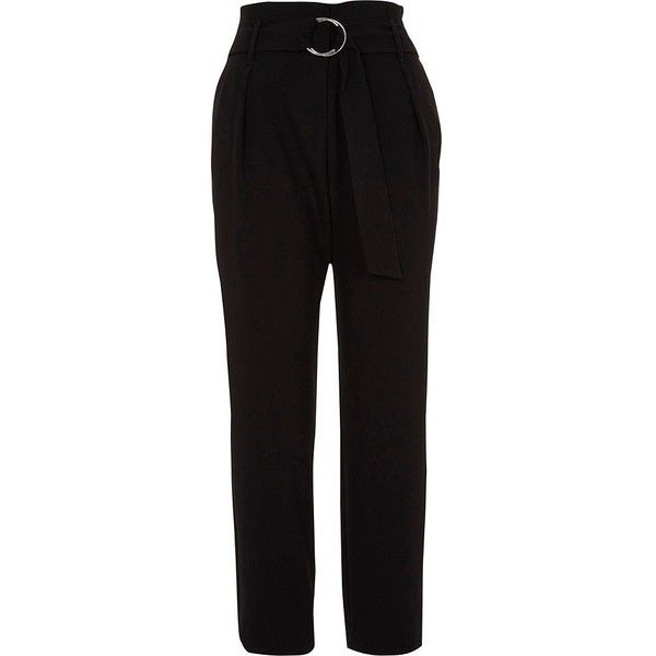 River Island Black high waisted ring belt tapered trousers ($76) ❤ liked on Polyvore featuring pants, black, tapered pants, women, tapered fit pants, river island, highwaist pants, tapered leg pants and tall pants