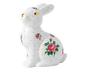 Lapin décoratif ROSIE, porcelaine à la cendre d'os - H16