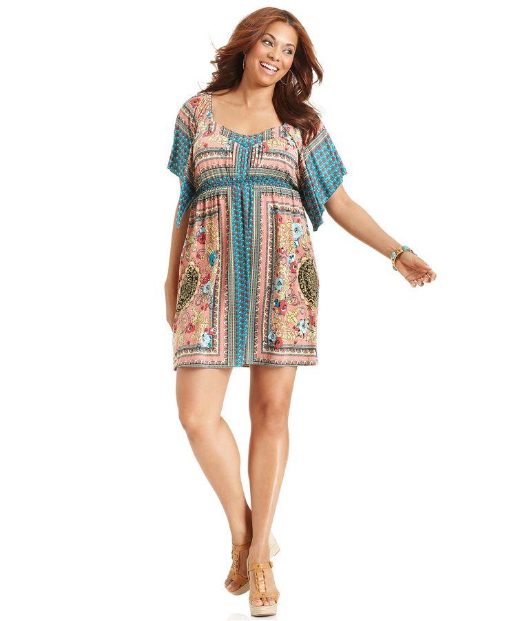 Style plus size dress short sleeve printed empire plus for Macy s wedding dresses plus size