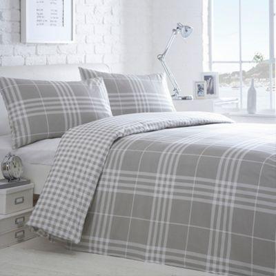 Home Collection Basics Grey 'Hugo Check' bedding set- at Debenhams.com