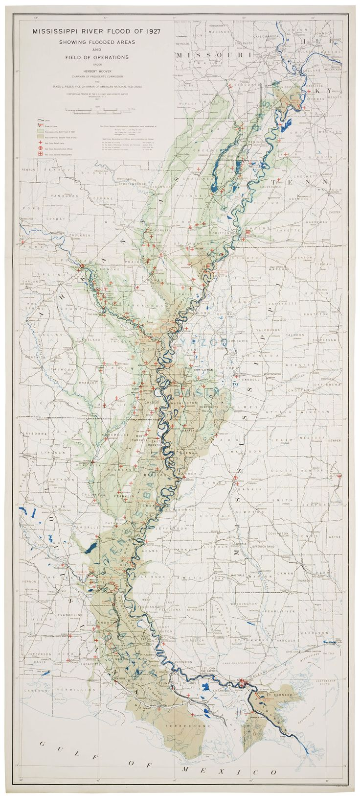 "Map prepared by the US Coast and Geodetic Survey (the fore-runner of today's National Oceanic and Atmospheric Administration) in 1927, after the Great Mississippi Flood of that year.  The map shows ""flooded areas and the field of operations"".  The great devastation produced by the 1927 flood -- it flooded an area approximately equal to the entire area of New England, displacing nearly a million people --  prompted Congress to pass the 1928 Flood Control Act, which authorized the Army Corps…"