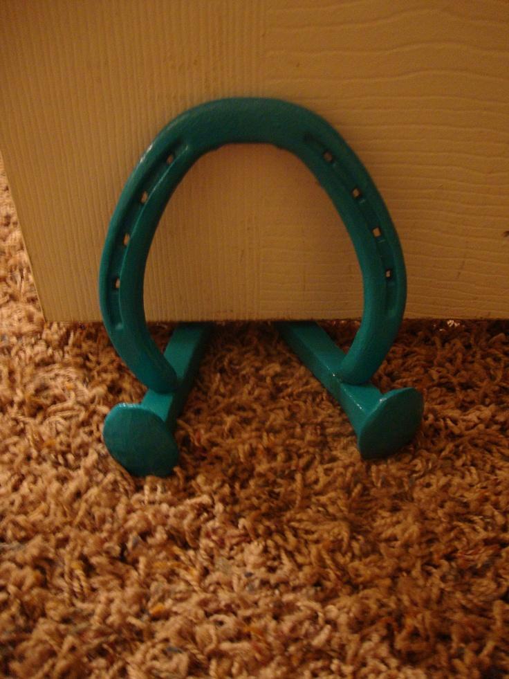Handpainted Lucky Horse Shoe Door Stop