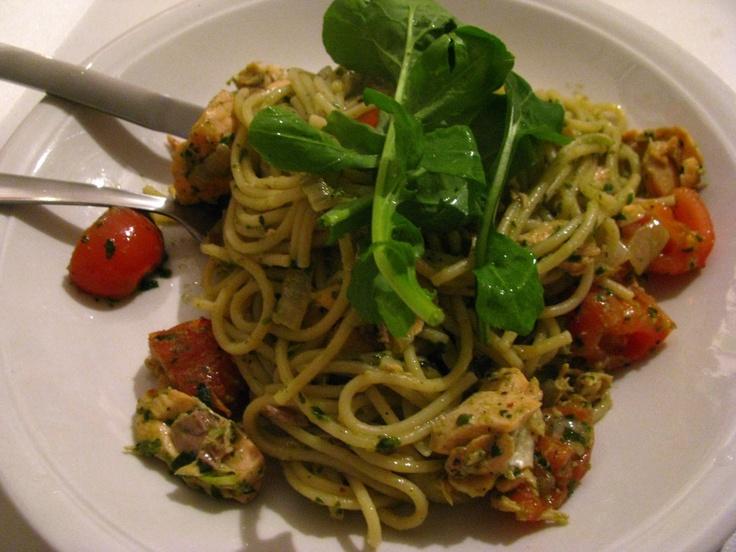 Pesto pasta with salmon