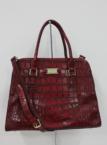 Michael Michael Kors Gia Embossed Satchel Bordeaux Crocodile-embossed detail