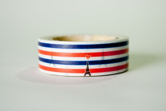 Washi Tape Eifel Tower Heart & Stripe by HexagonInc on Etsy, $3.50