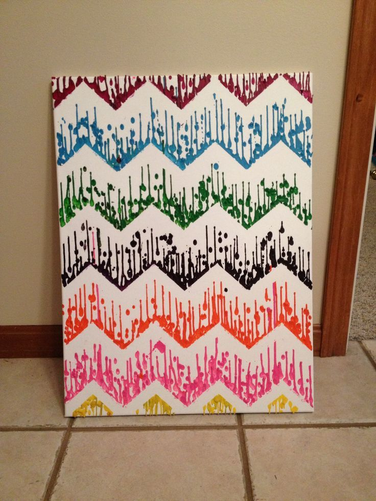Melted crayon art - take a canvas and some crayons peel the paper off the crayons and put them in a hot glue gun then make a cool design