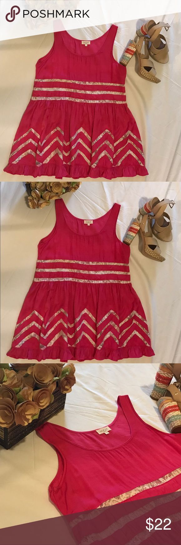 Pink and lace trapeze slip shift dress Small NEW Tea & Cup Los Angeles Shift Slip dress! New without tags. Never worn! Size small and in perfect condition. This is a pink trapeze slip dress that can be worn various ways! Can be worn in the summer to a bonfire on the beach or it can be worn in the winter with ankle booties! I have also seen the stress styled as a cover-up. Your options are endless.! The dress is accented with soft lace detail and super cute ruffled hem. Size Small measures…