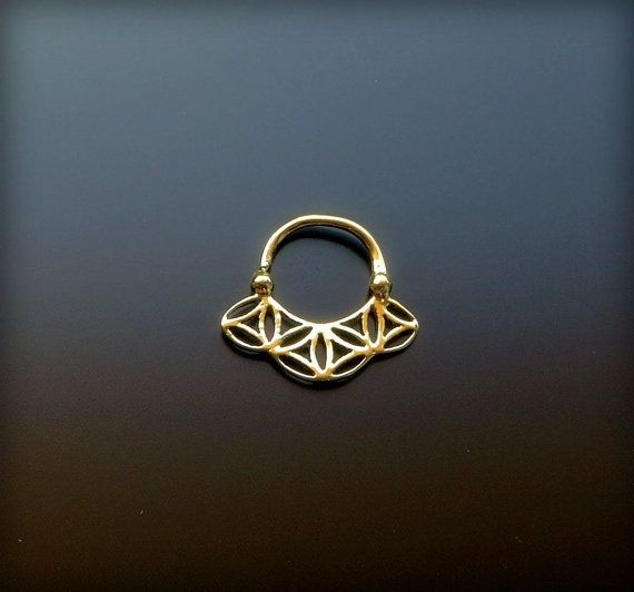 Gold Plated Septum Ring For Pierced Nose  Flower Of Life  by Sagia