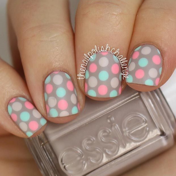 Pastel Matte Polka Dot Nail Design for Short Nails